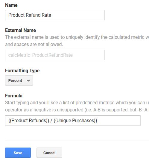 Calculated Metric: Product Refund Rate