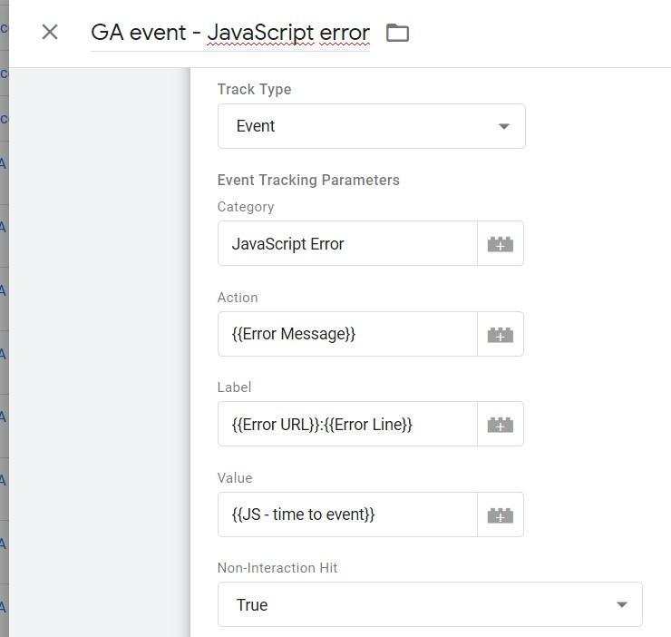 """Indsæt """"JS - time to event"""" som Event Value."""