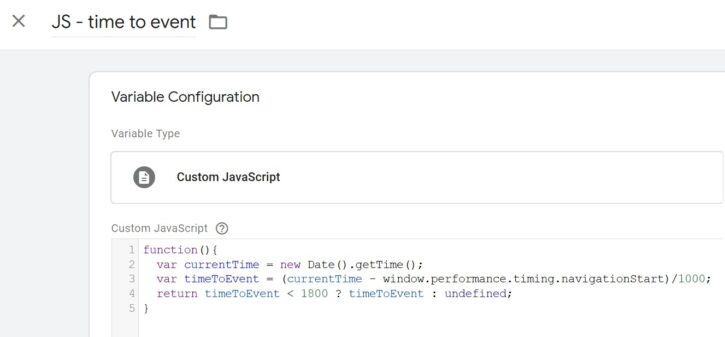 GTM variabel: JS - Time to event