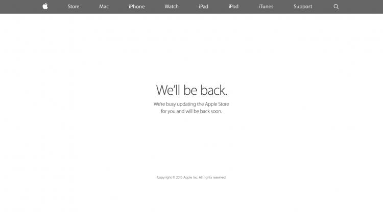 Apple's webshop når der lanceres nye produkter.