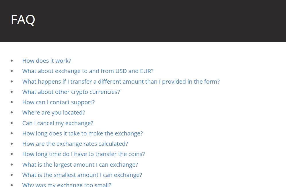 En del af FAQ sektionen på sitet.
