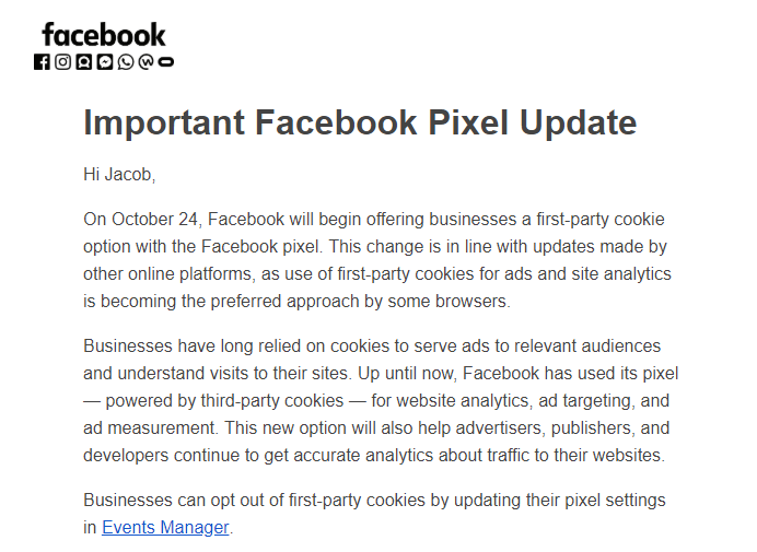 facebook gør det muligt at facebook pixel bruger en 1. parts cookie.
