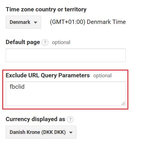 Ekskluder fbclid som URL parameter i Google Analytics.