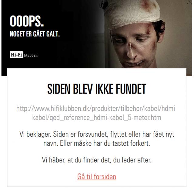Den gamle URL giver nu bare en fejlside.
