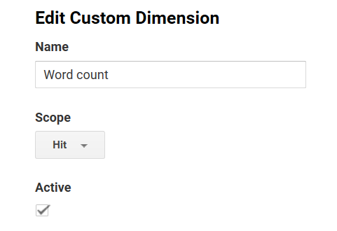 Antal ord i hit-scoped custom dimension
